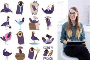 piccione viola diventato virale chi lo ha disegnato